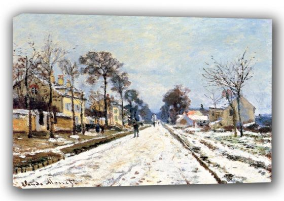 Monet, Claude: The Road to Louveciennes. Fine Art Landscape Canvas. Sizes: A3/A2/A1 (00779)